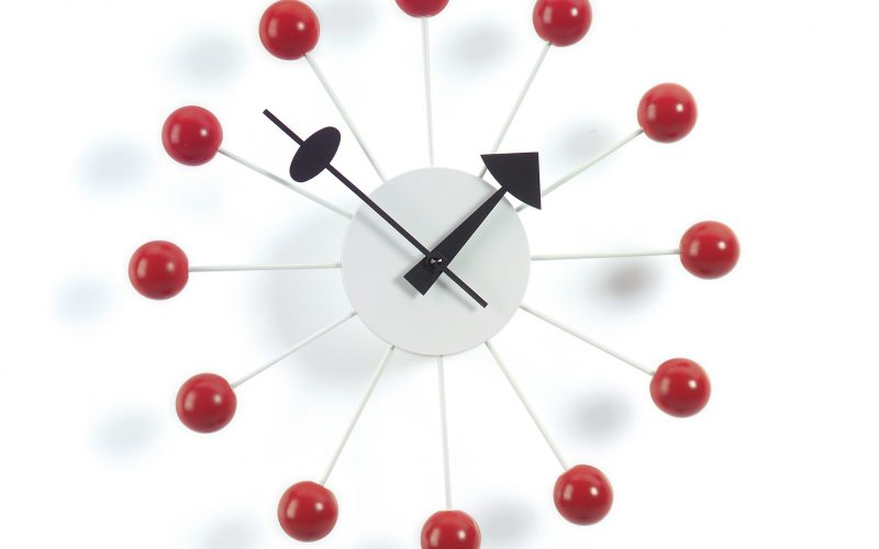 Vitra accessoires Ball-clock red, George Nelson 1948